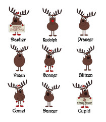 All Nine Reindeers With Names - Isolated On White