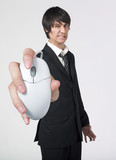 furious businessman holding mouse computer poster