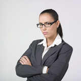 furious businesswoman with crossed arms poster