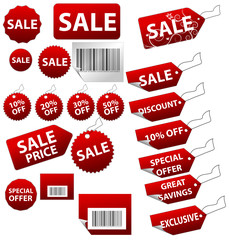 A large set of high quality sale tags