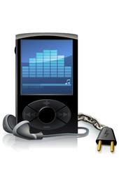 Lecteur MP3 noir et autonomie (reflet)