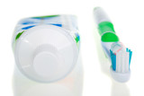 tooth-brush and tube of toothpaste poster