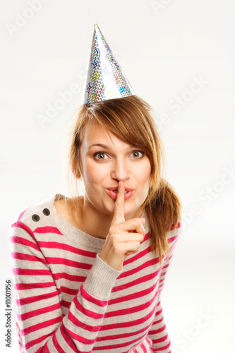 Young Woman With Party Head - Shush!