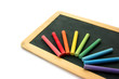 Blackboard and chalks in rainbow
