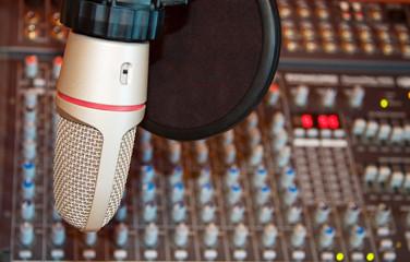 Studio recording microphone over sound mixer - SDOF