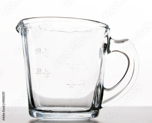 A glass measuring cup