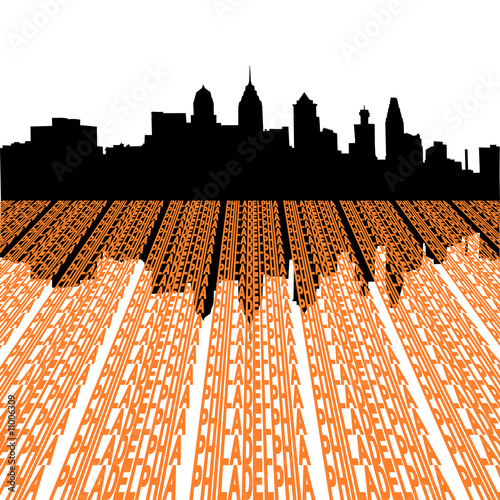 Philadelphia skyline with text