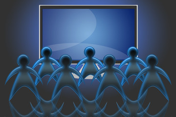 group of spectators in front of a TV LCD or Plasma