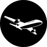 Vector airliner icon. Black and white. Simply change. poster