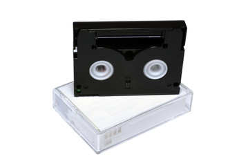 Two mini-dv cassettes isolated on white background.