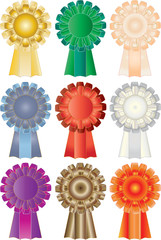 colored vector illustration of nine silken rosettes