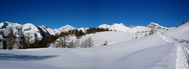 panorama neige et montagne