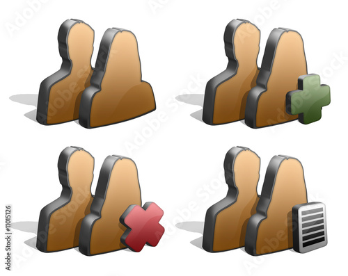 Group icons silhouttes 3d