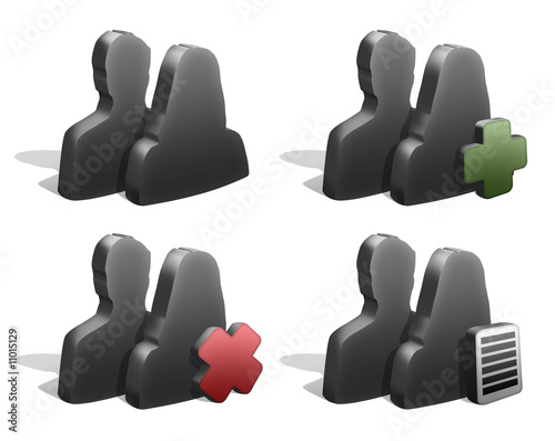Group icons silhouttes 3d graphite