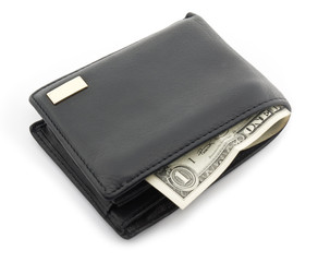 Leather wallet with a one dollar