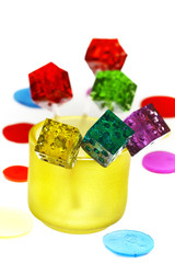 colorfull dice lollipops