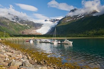 Boats, fjord and glacier