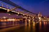 London Landmark, Millenium Bridge and St Pauls Cathedral-