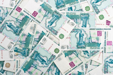 Background from roubles banknotes