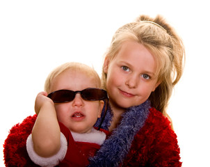 Girl with Lei and Baby with Sunglasses