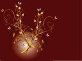 Floral Hintergrund braun Kringel poster