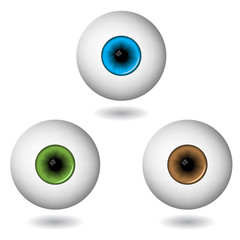 eye balls in three main colours isolated on white