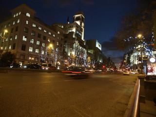 Anochecer en Madrid con luces de Navidad