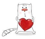 Feline heart poster