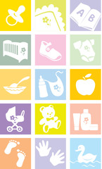 Icon set - baby shopping, clothes, shoes,toys, feeding