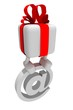 White gift with red tape cost on badge of the e-mail