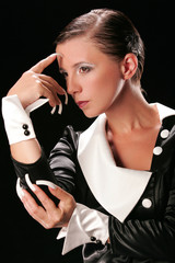 Thinking woman with long white nails