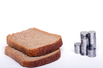 slices of bread & money