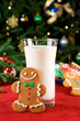 Gingerbread man cookie and milk
