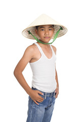 young asian kid with hat