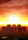 stonehenge al tramonto poster