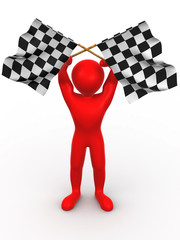 Men with checkered flags