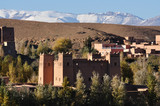 Moroccan casbah, Atlas mountains in the background poster