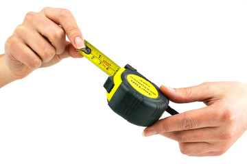 Female hands holds measuring tape