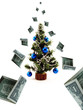 money fall on the christmas tree