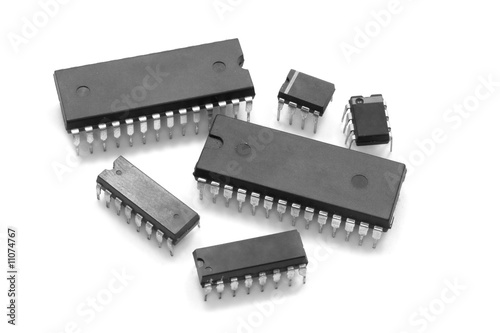 Integrated circuit chip against white background - 11074767