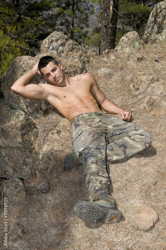 Military man relaxing in the country