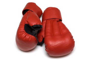 Red gloves for hand-to-hand fight on white background