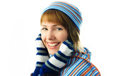 beautiful girl wearing a scarf, hat and mittens poster