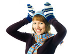playful girl wearing mittens, warm hat and scarf poster