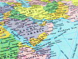 Map of Arabian Peninsula and countries in the region. poster