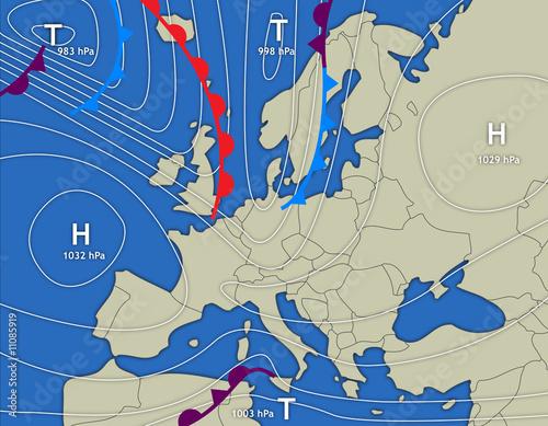 Leinwandbild Motiv Wetterkarte Europa