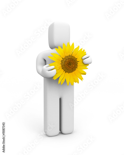 Person hold sunflower