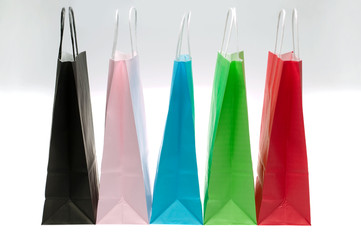 Five paper shopping bags