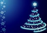 Modrý vánoční strom s hvězdami a sněhové vločky
