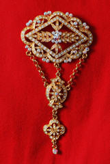 Exquisite gold brooch adorned with gems